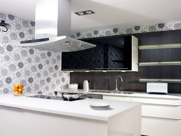 white kitchen wallpaper ideas