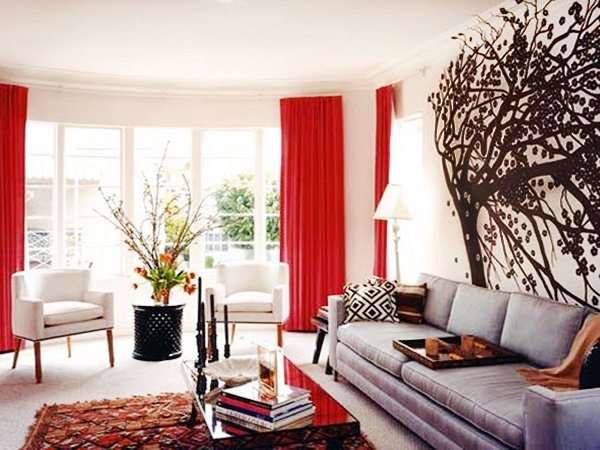 white living room red pillows