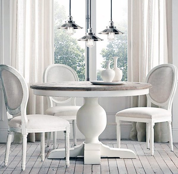 wooden white round dining table design