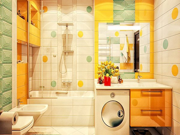 yellow green bathroom design