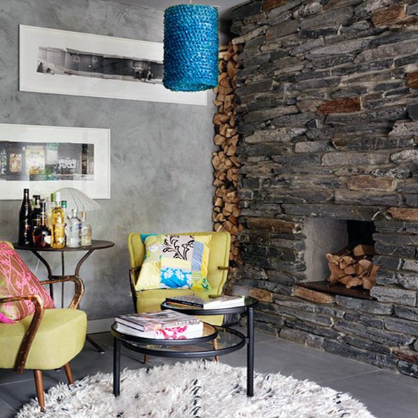 Exposed stone wall design ideas