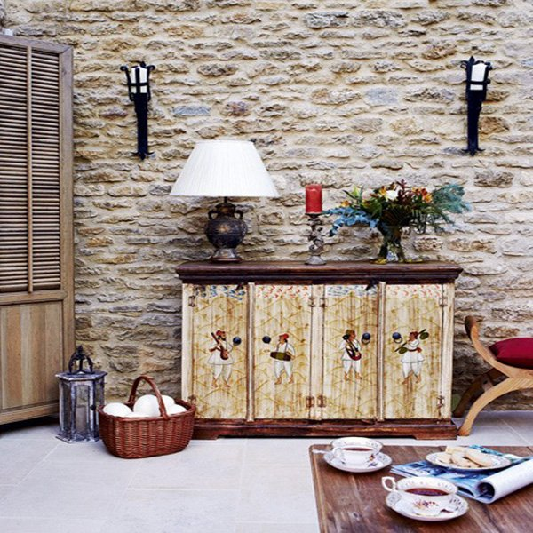 Exposed stone wall designs