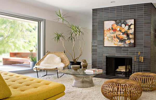 Exposed stone walls for modern living room