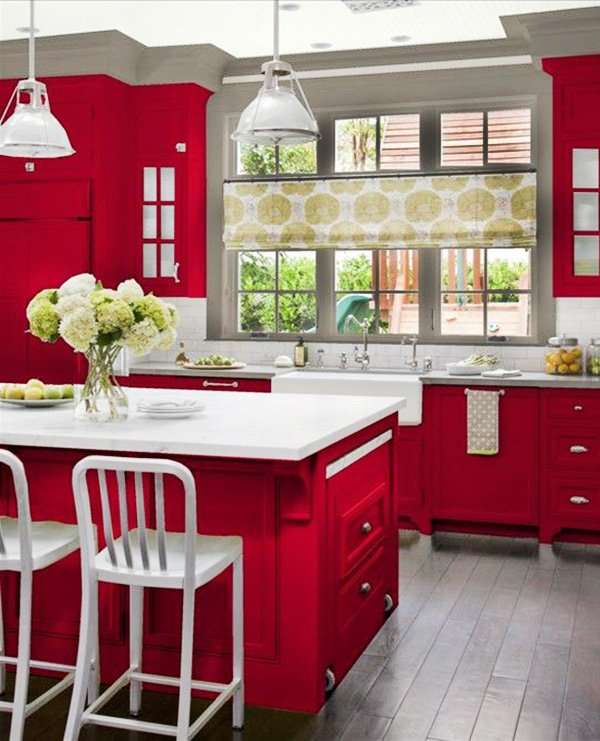 all-red kitchen design