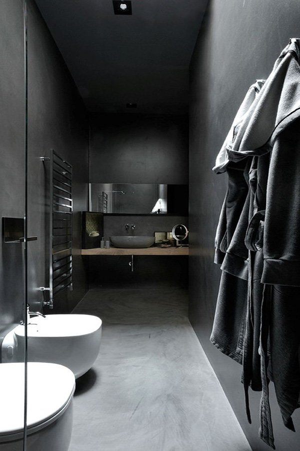bathroom design with dark tones