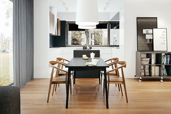 black and wooden Rectangular Dining Table