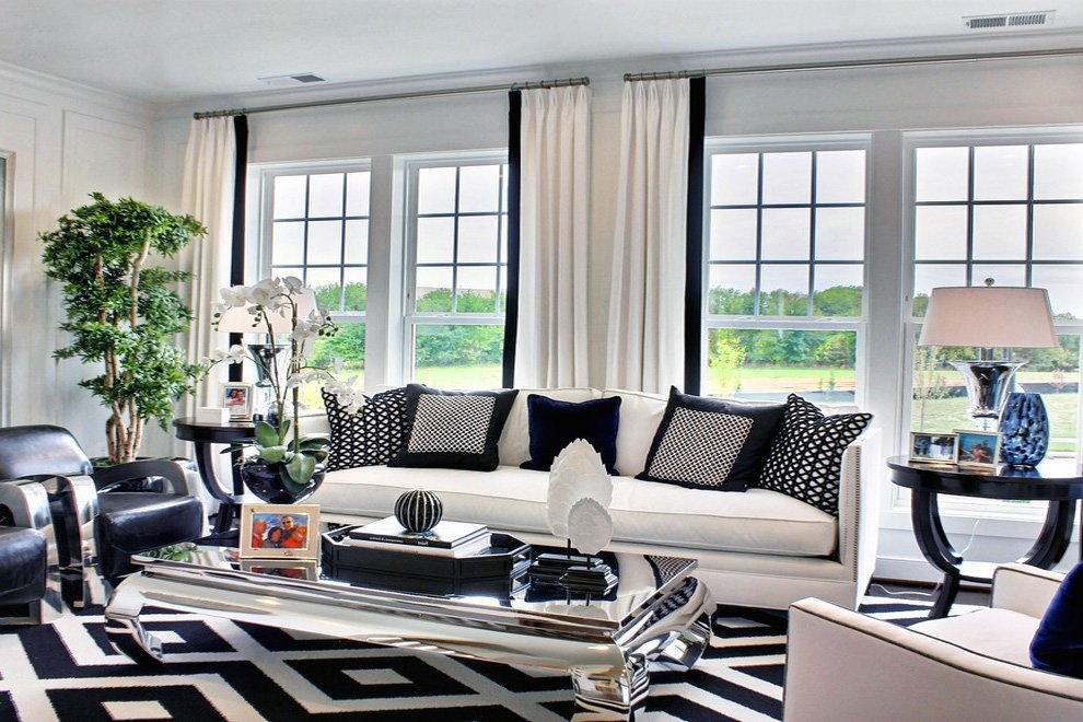 black white modern living room