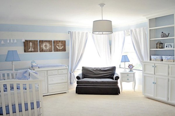 blue white Nursery Room