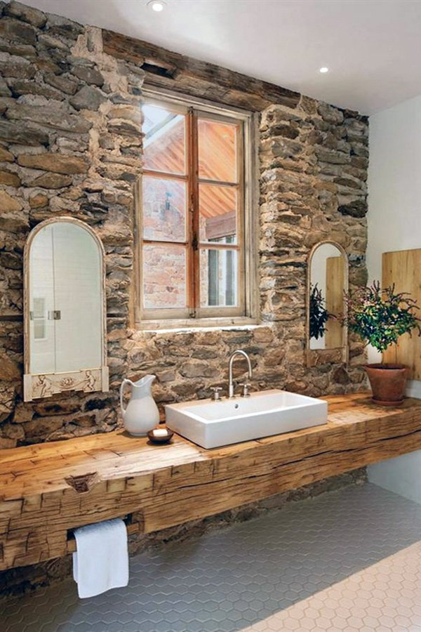 brick bathroom walls