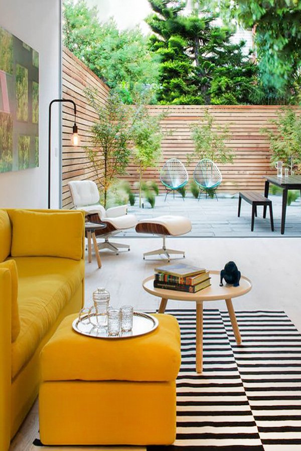 bright living room design with Mustard Yellow seat