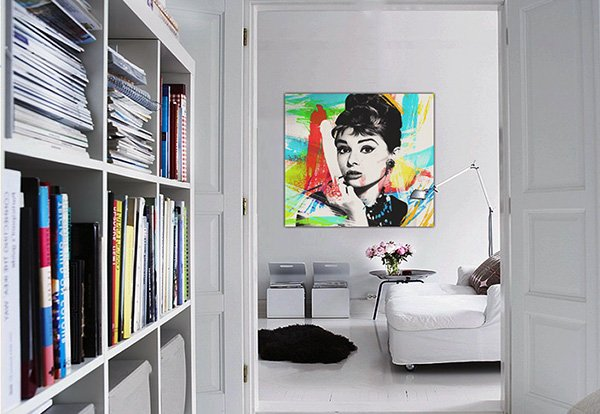 bright white pop art living room design