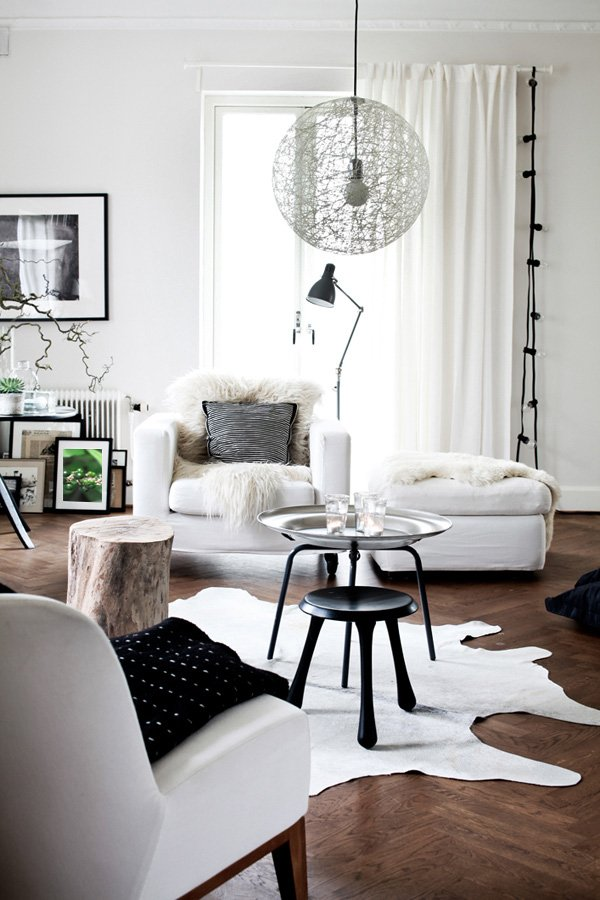 charming black white living room design