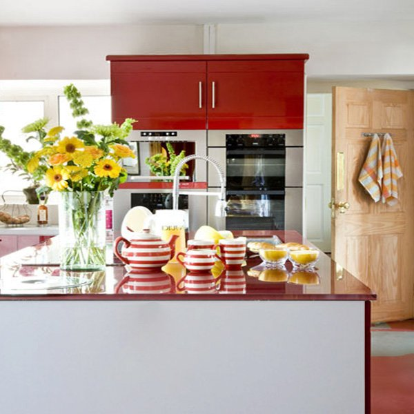 chic red white kitchen design