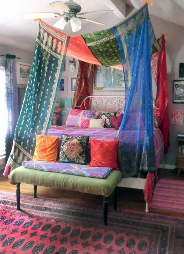 colorful bohemian bedroom design