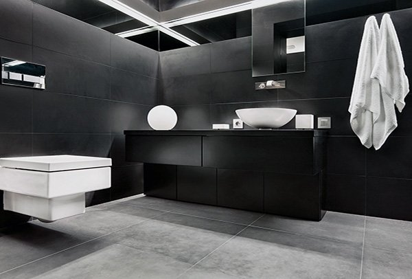 contemporary dark bathroom walls