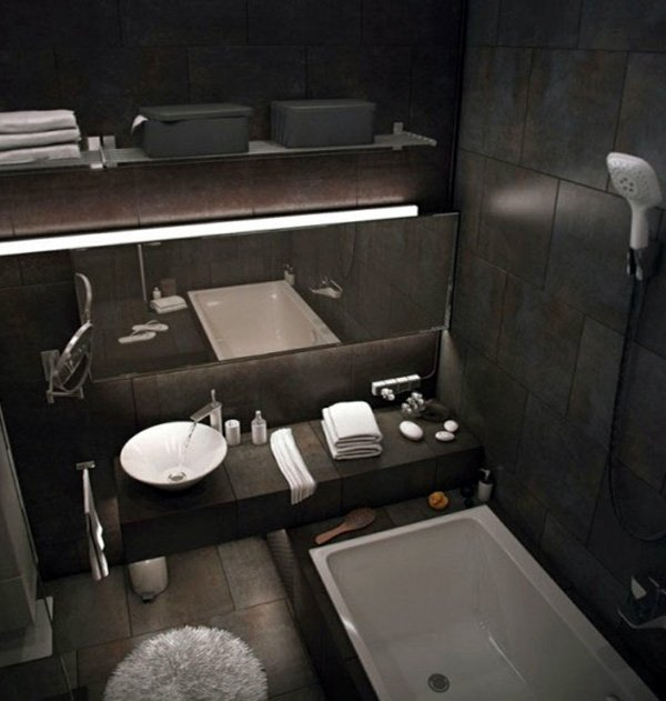 cosy dark bathroom