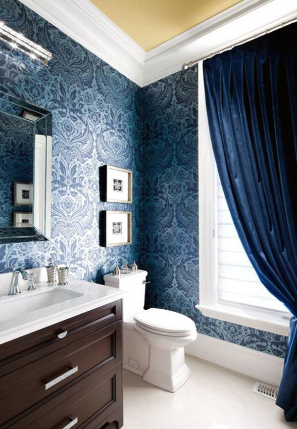 dark blue and patterned bathroom walls