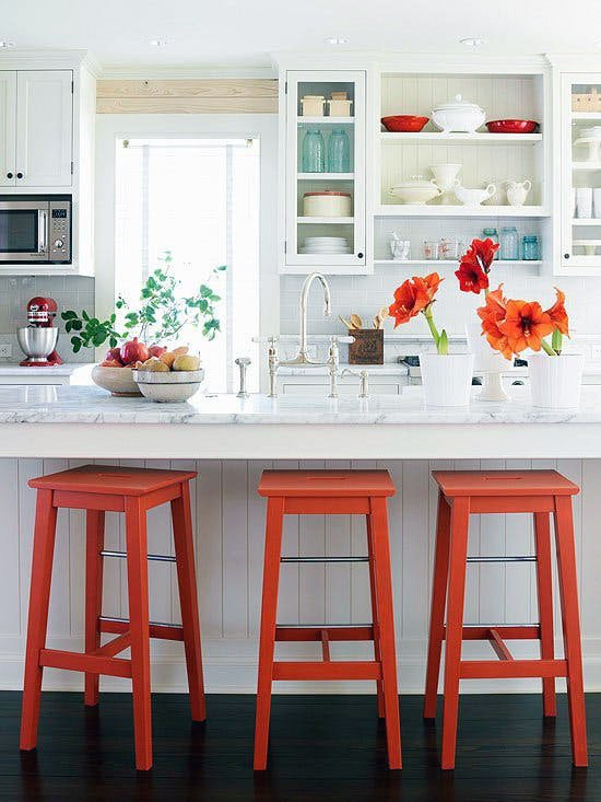 elegant red white kitchen ideas