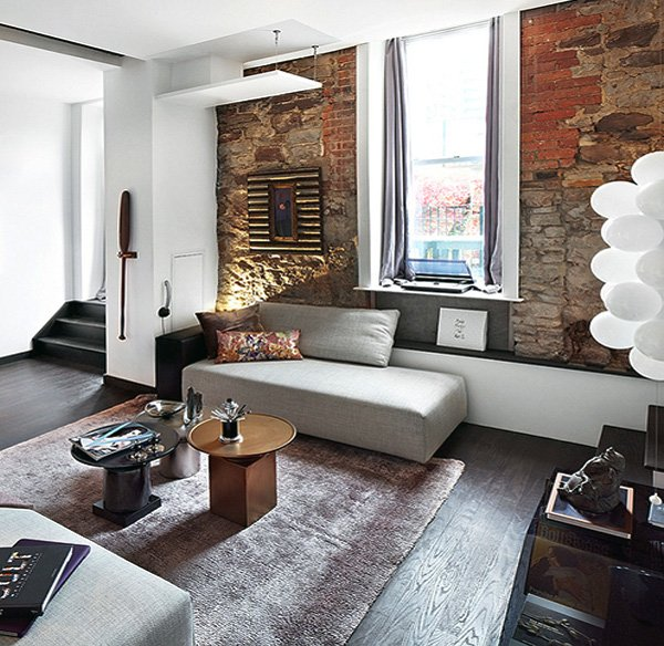 living room Exposed stone walls