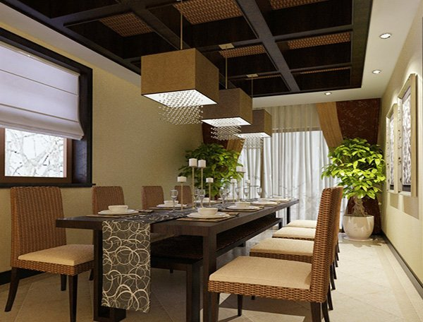 natural dining room design with Rectangular Dining Table