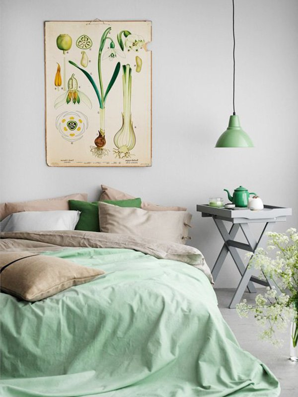 pastel green bedroom
