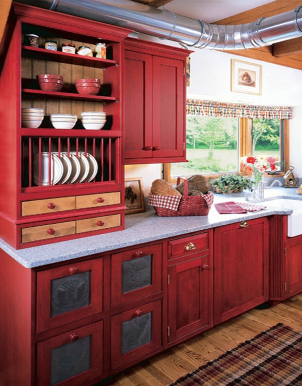 red cute kitchen cabinets