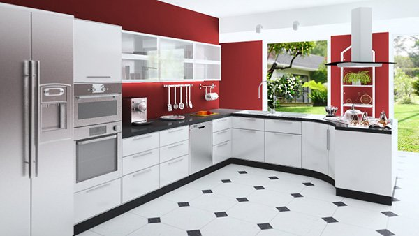 red kitchen walls