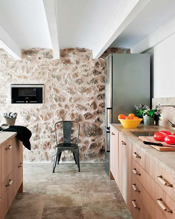 stylish Exposed stone walls