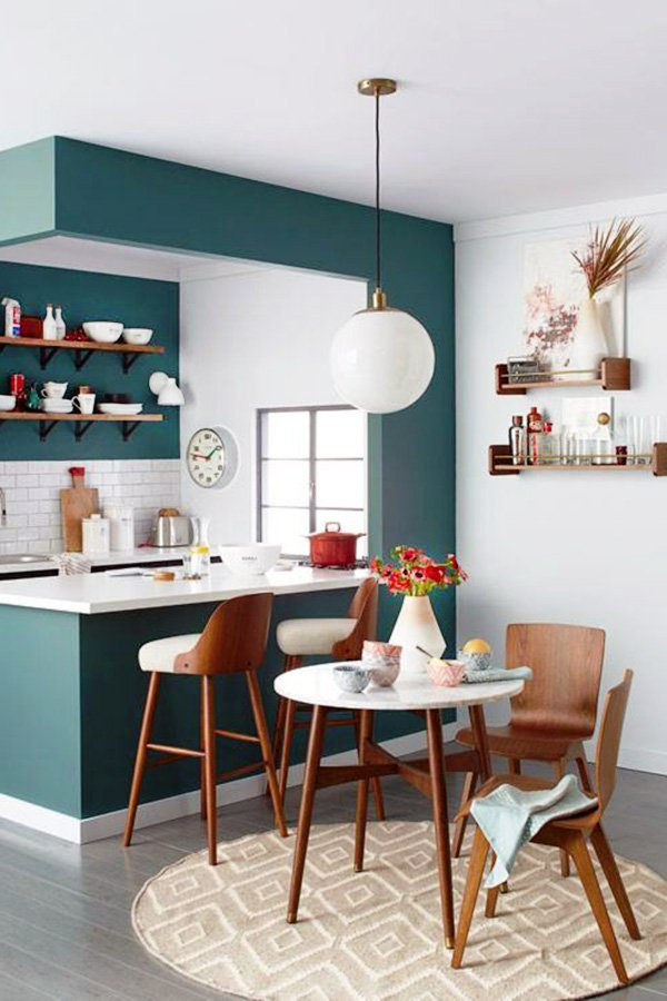 stylish small kitchen and dining space