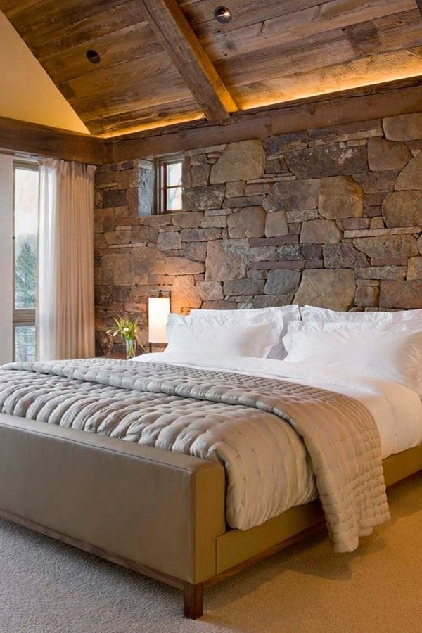 stylish stone wall design idea for bedroom