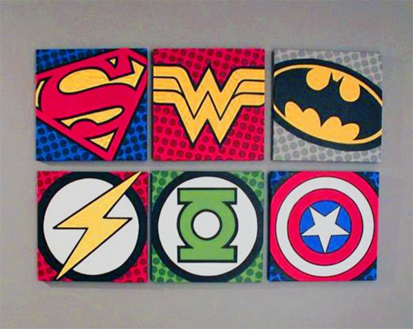 wall decor with Super hero logos