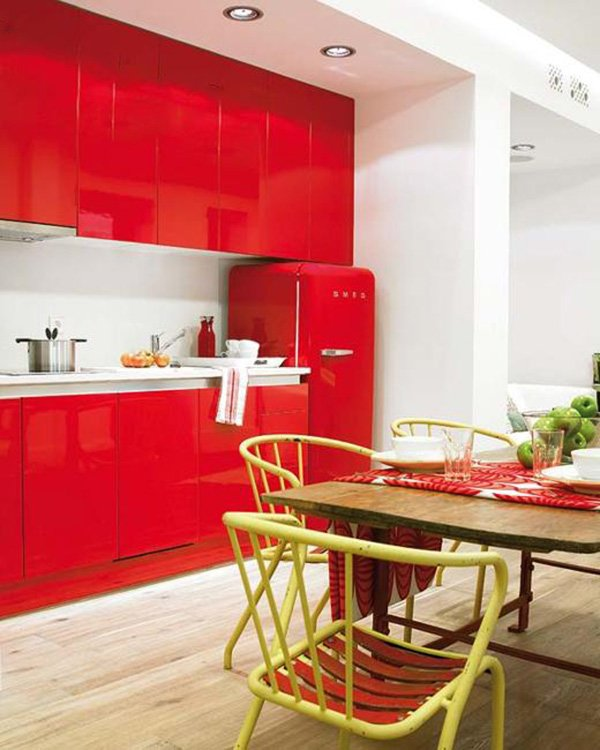 well decorated red kitchen