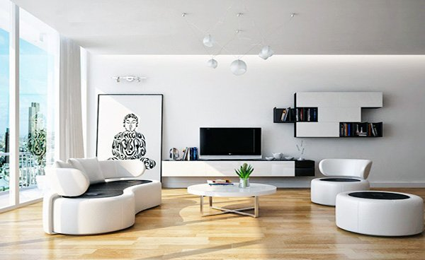 white bright living room design ideas