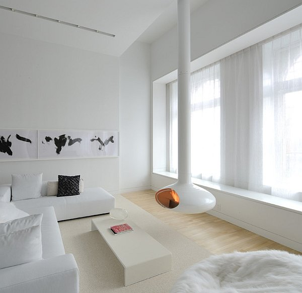white minimalist living room decoration