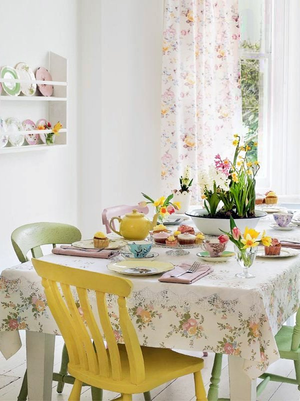 bright pastel dining room design