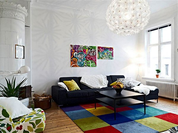 colorful living room carpet
