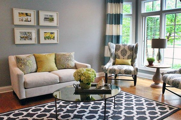 living room decor with blue rug