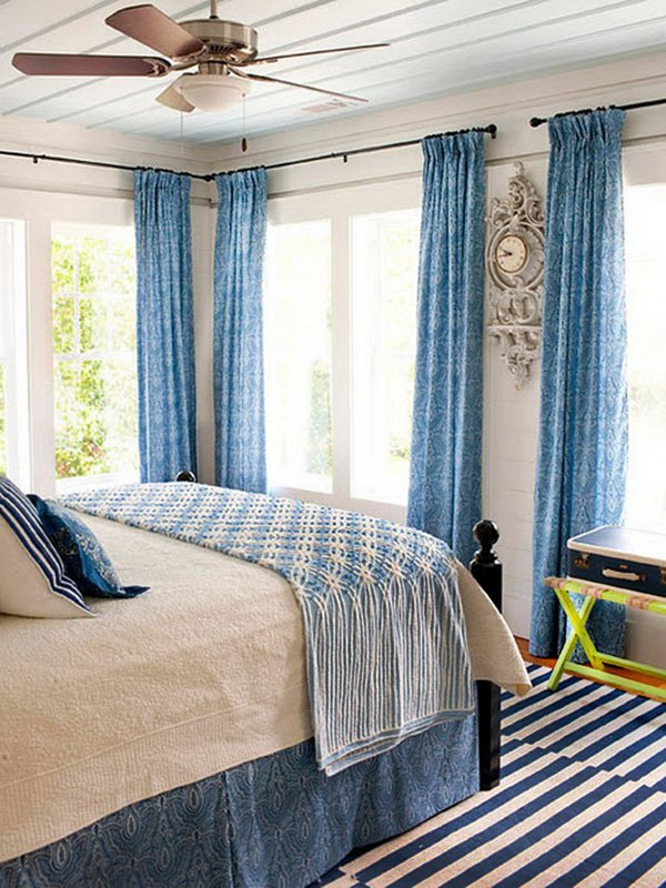 bright blue combination of bedroom design
