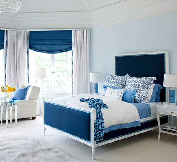 white-blue bedroom