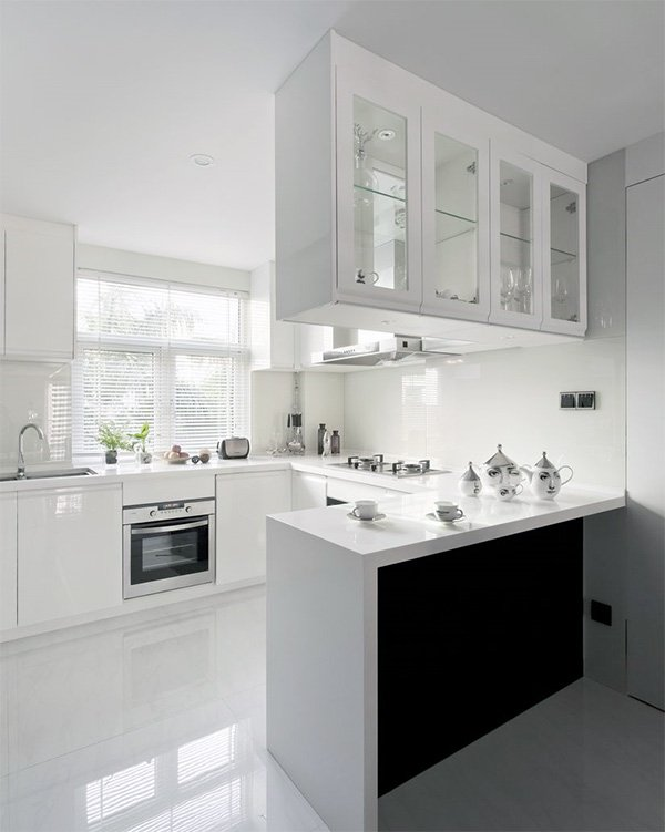 white small open kitchen